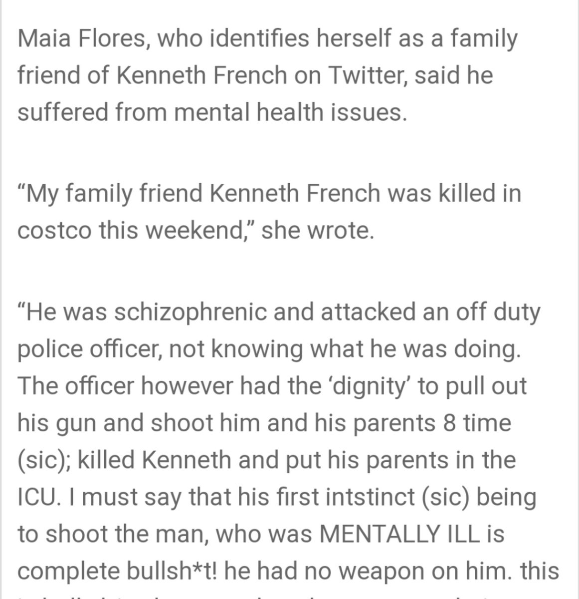 2/2 Kenneth was killed and his parents are in critical condition. The off duty police officer who shot them sustained only minor injuries. This is heartbreaking. A family is broken. Video of the incident must be released with eyewitness statements.  #Costo #Corona #GunViolence<br>http://pic.twitter.com/hyPtFYsG2u