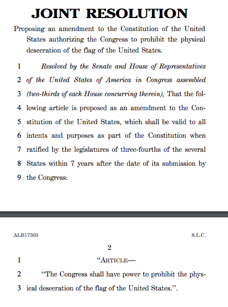 Bad idea of the year: Constitutional amendment to prohibit flagburning https://whyevolutionistrue.wordpress.com/2019/06/16/bad-idea-of-the-year-constitutional-amendment-to-prohibit-flag-burning/…