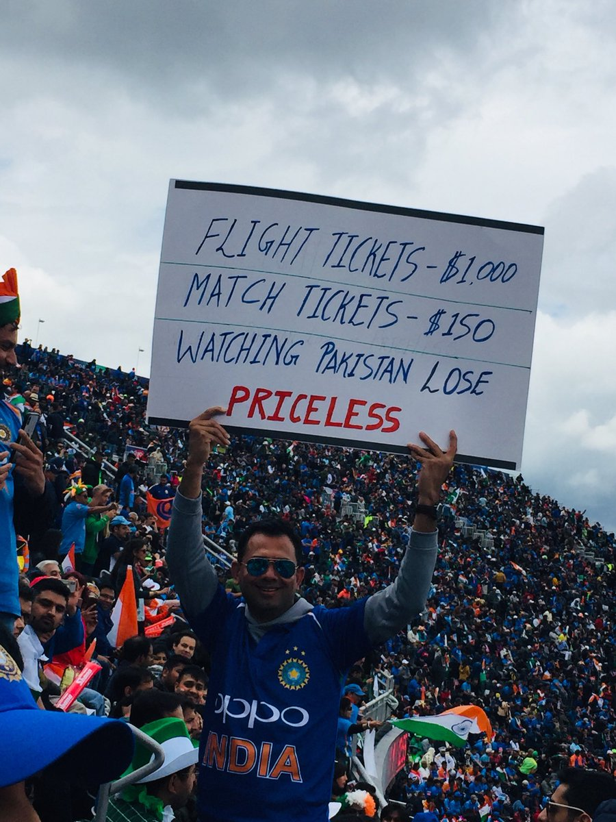 Probably one of the greatest experiences of my life! Utter euphoria from the moment we entered the stadium, and constantly pinching myself to check I wasn't dreaming!Atmosphere = ElectricCricket = Sublime Bucket-list = Ticked#CWC19 #INDvsPAK #BleedBlue #SweepTheNation