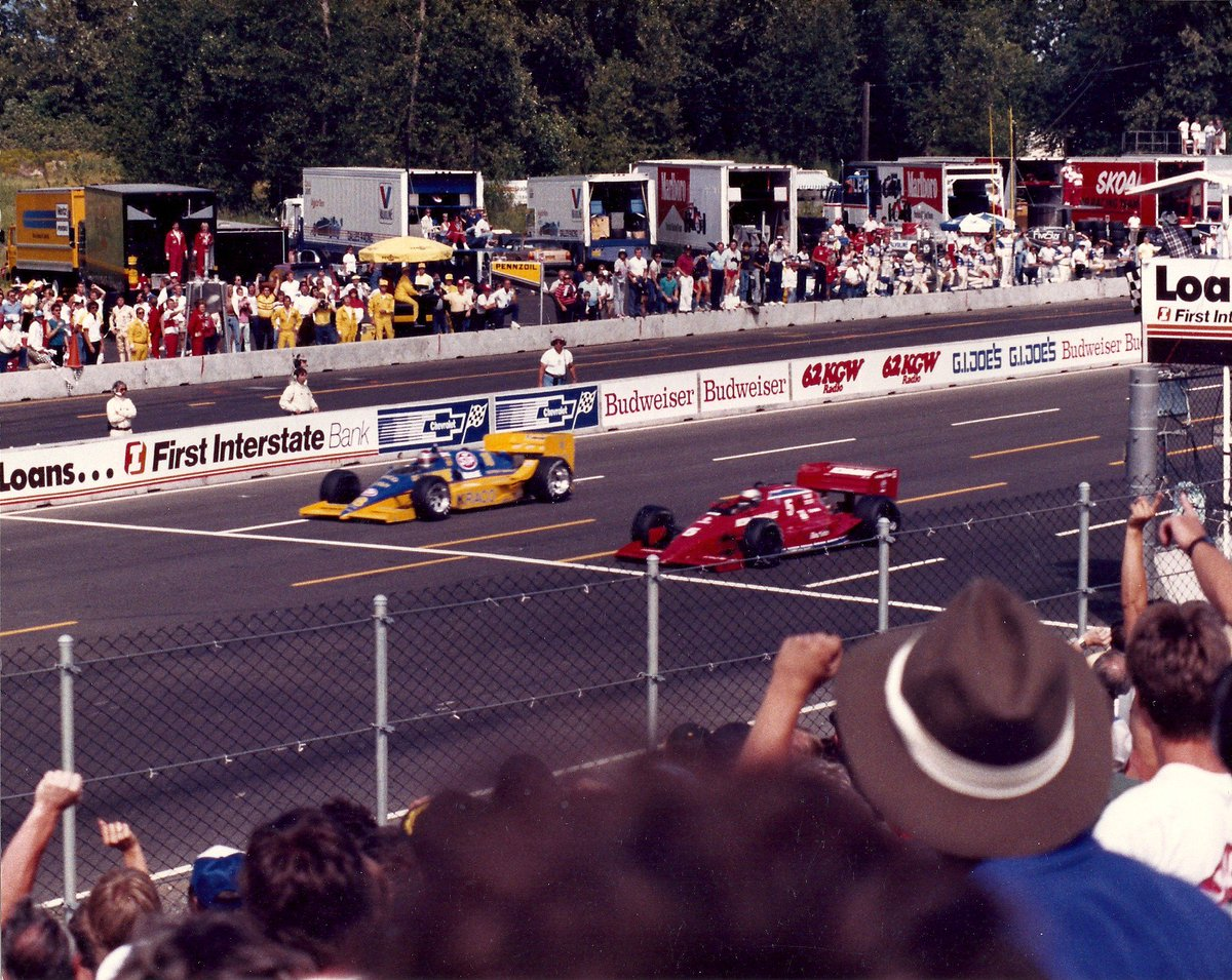 Fathers Day Throwback:   Here's me and @michaelandretti crossing the finish line at Portland on Fathers Day June 15, 1986.  I beat Michael by .07 seconds.  One of our coolest Father/Son racing moments.