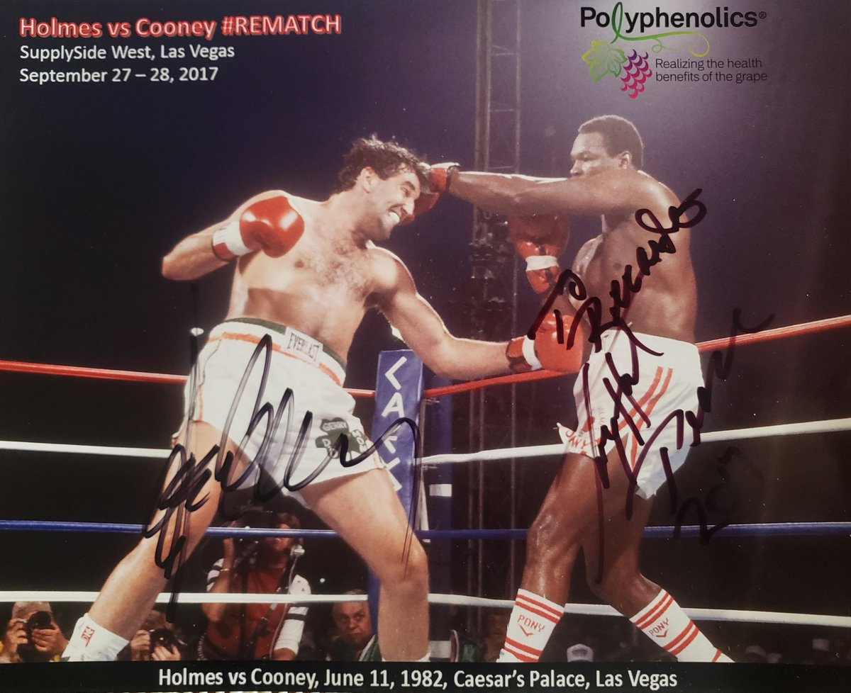 Memories: Photo autographed by Larry Holmes and Gerry Cooney. Holmes vs Cooney #Rematch Jume 11, 1982, Caesar's Palace, Las Vegas