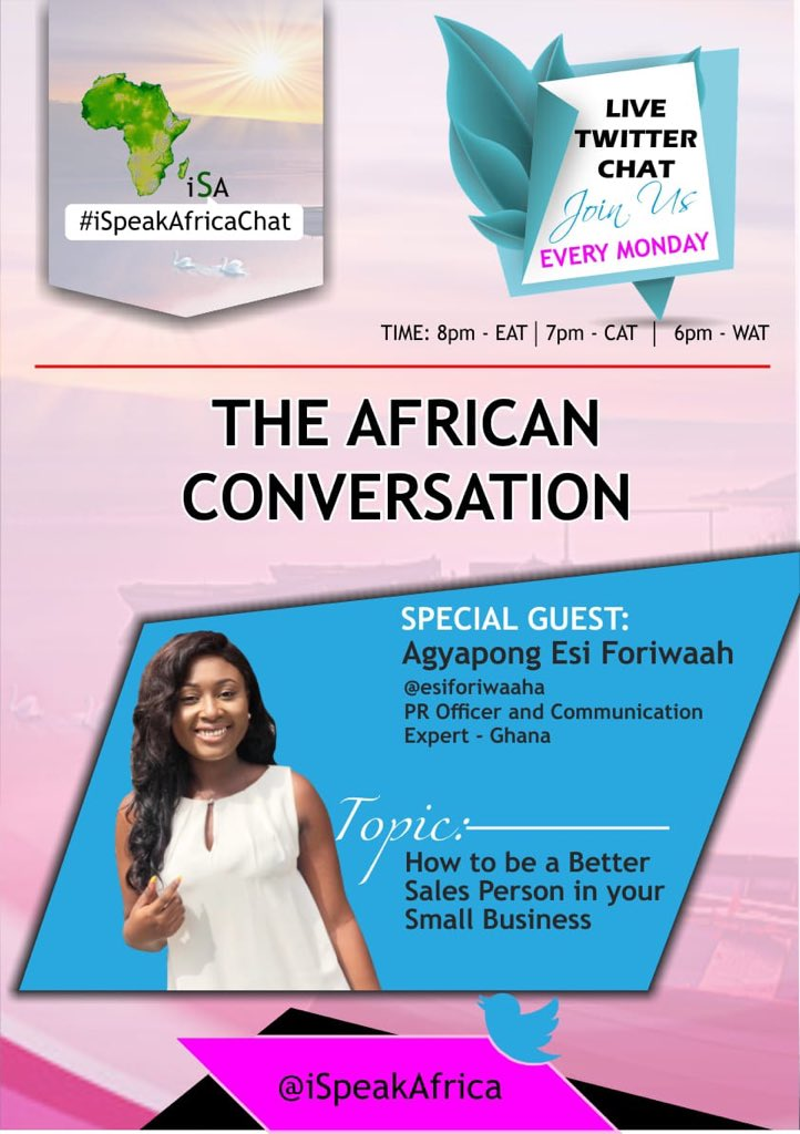 Join me tomorrow 5pm WAT using the #iSpeakAfricaChat