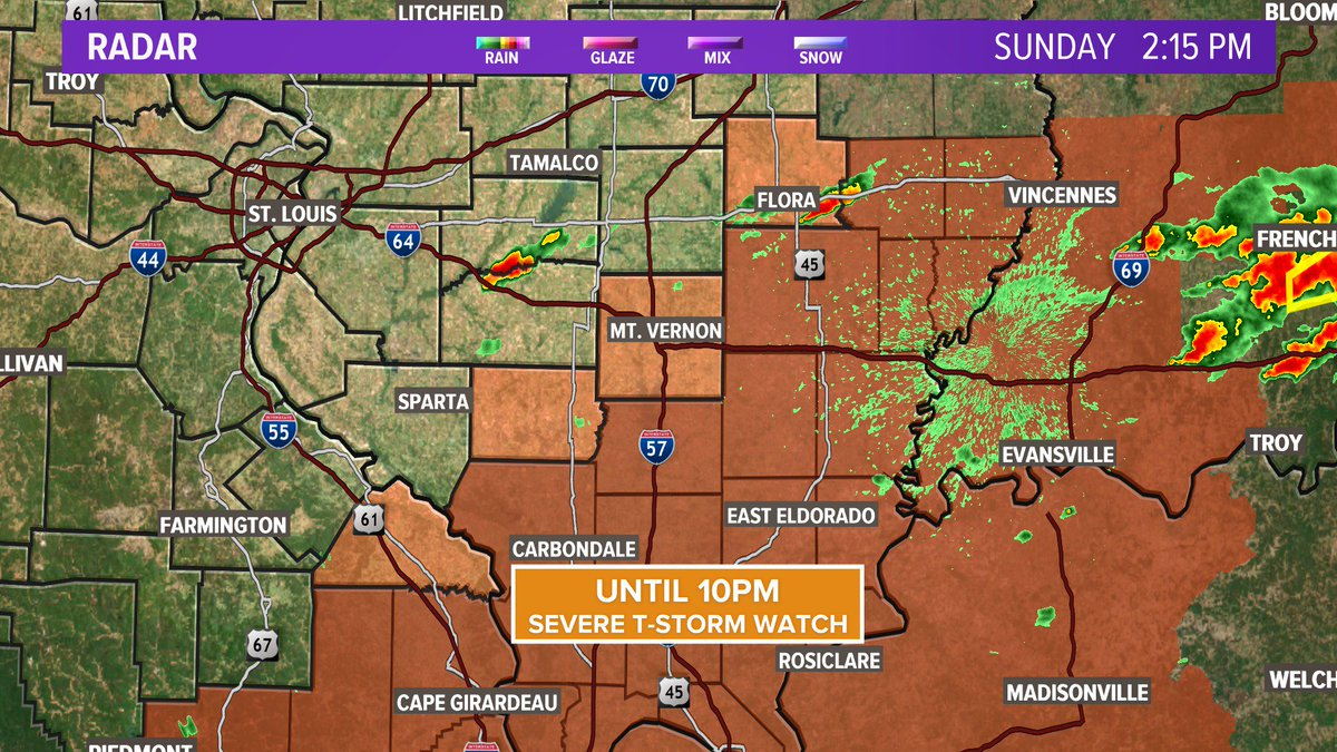 Hey #STL Scattered storms are popping east and southeast of us where a few cloud be severe. New severe t-storm WATCH does not include St. Louis, but we still could see a few storms develop #ilwx #stlwx @ksdknews