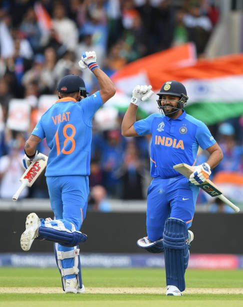 Virat Kohli and Rohit Sharma during a World Cup 2019 match (Credits: Twitter/Virat Kohli)