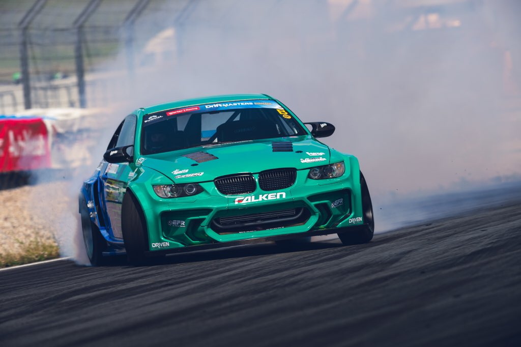 Sliding it sideways with @JamesDeane130 in the @FalkenTire #EuroFighter at this weekend's @DriftMastersGP