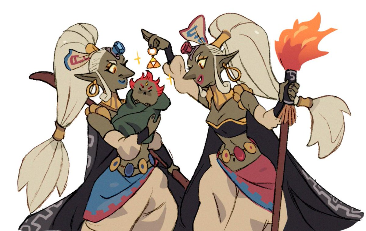 Kotake and Koume pampering our little baby Ganon  Not many people know that they are Ganon's surrogated mothers. May this illustration serve to reveal to the world this beautiful lore. #zelda #thelegendofzelda #kotake #koume #gerudo #nintendo #fanart #ganondorf #ocarina<br>http://pic.twitter.com/UjFEgDXc7z