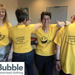 #ThrowbackThursday Look how wonderful the team at #knutsfordlaughterclub looks in their #customtshirt we made for them 😃🧘♂️ #laughteryoga #customtshirt #customtee #customshirts #customtshirts #graphicdesign #smallbusiness #teamuniform #workwear #officewear #workwearstyle