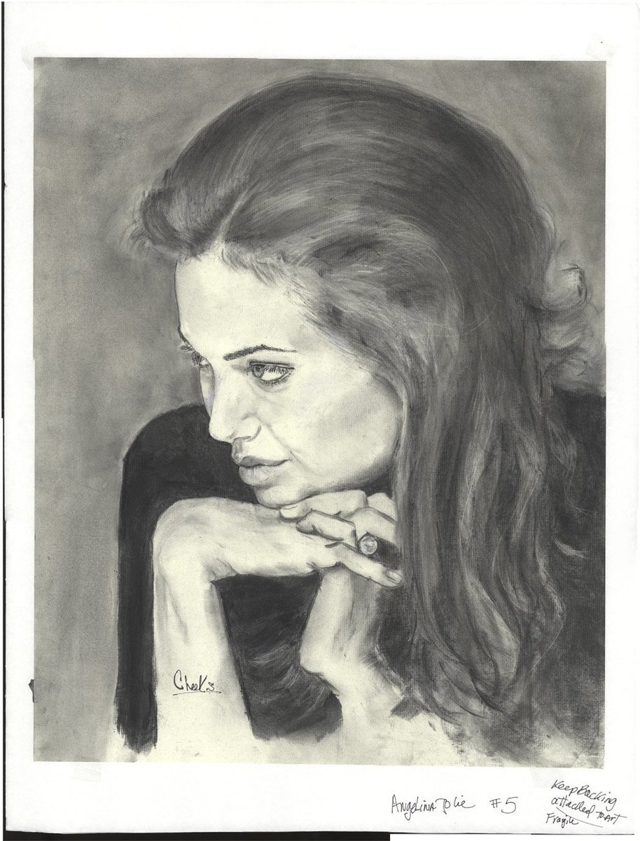 My Charcoal and Pastel Portrait of #AngelinaJolie.  #actress #HollywoodStudios  #academyawards #GoldenGlobes <br>http://pic.twitter.com/TxtHjpSQ5D