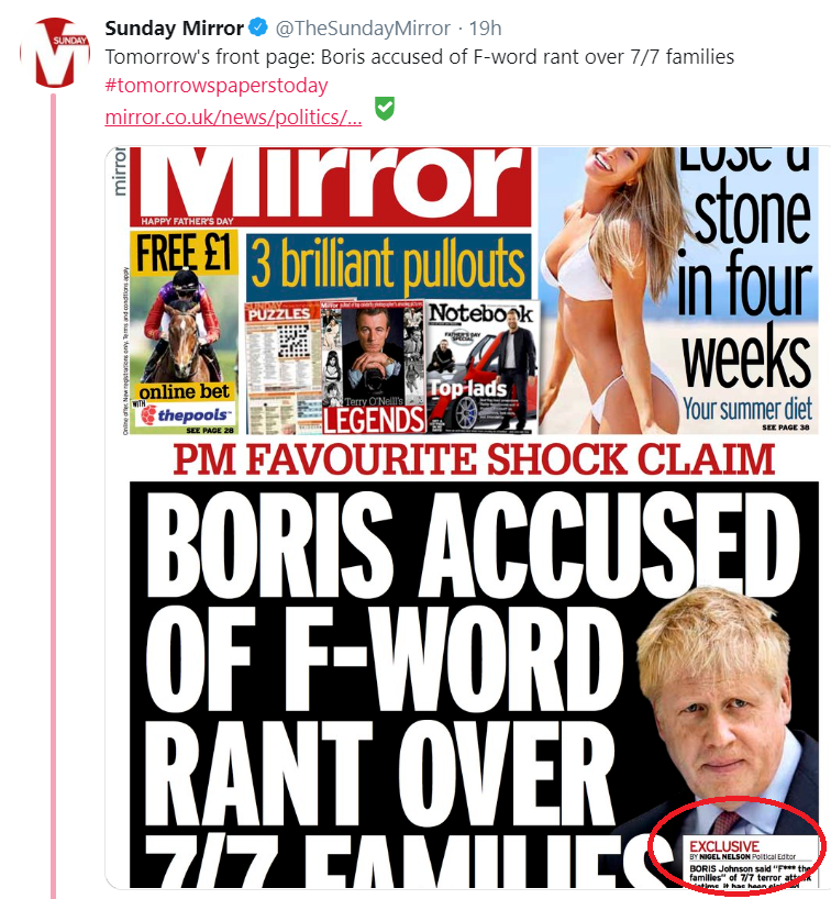Sunday Mirror claims front-page 'exclusive' on Johnson outburst – 16 days after SKWAWKBOX brokeit skwawkbox.org/2019/06/16/sun…