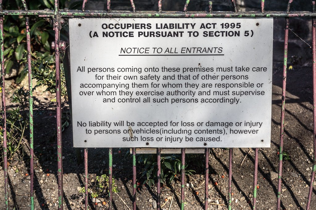Occupiers' Liability Act, 1995: Notice