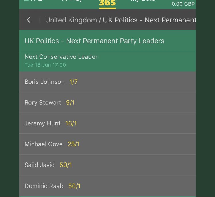 First hustings completed. As the odds show - the public's view is cementing. @BorisJohnson vs @RoryStewartUK would produce a truly riveting contest that would help improve our brand & would be followed not just by the Party faithful but a country we must urgently re-engage with.