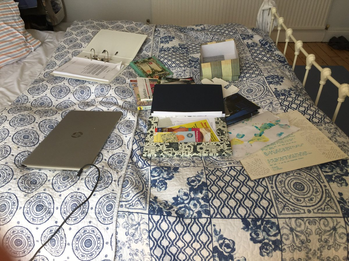 Today's #DailyMess: bed-desk. I've got a desk-desk but the ideas won't go near it. They like the bed. They like the proximity to dreams and the comfort of cushions. Ideas are cats who won't sleep in the cat-bed, only where they're not really allowed to go. #bookofgodlessverse<br>http://pic.twitter.com/TtSpS7FFbp