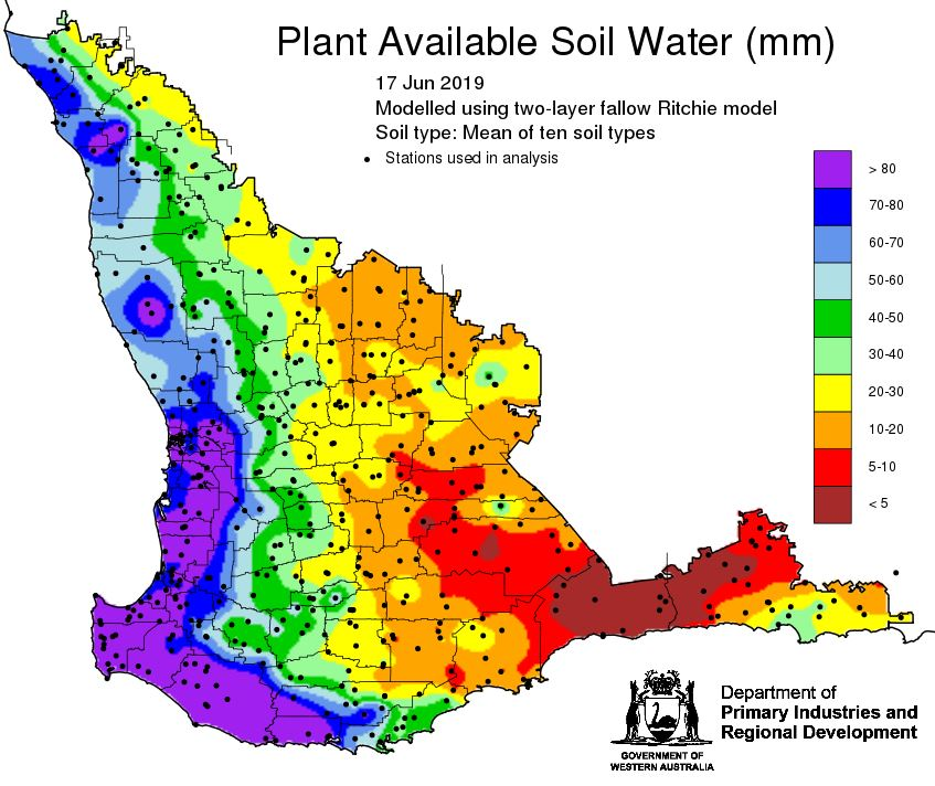 Latest @DPIRDbroadacre plant available soil water map and potential yield map. Using evaporation of 90 mm due to the late start. http://Windy.com indicating more rain to come from Saturday 22 June. Possible 10 mm for Cascade.