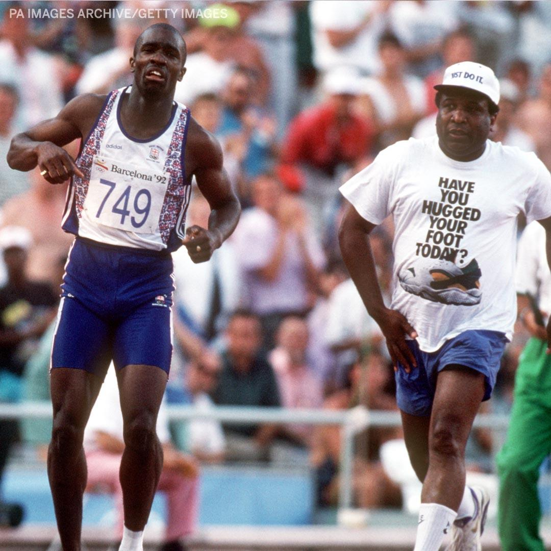 One of the great father-son moments in sports.  In the 1992 Olympics, Derek Redmond tore his hamstring while running the 400m. After the injury forced him to hobble the rest of the race, Redmond's father, Jim, came down from the stands to help him cross the finish line.