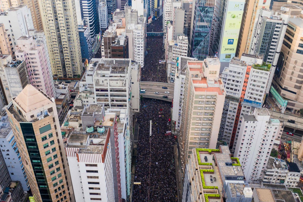 More than a million everyday people united by fear of Beijing, mistrust of their own government and a determination to stop their democratic rights from being taken, flowed through the centre of #HongKong like a great, black river. #HongKongProtest https://bit.ly/2KVe3G8