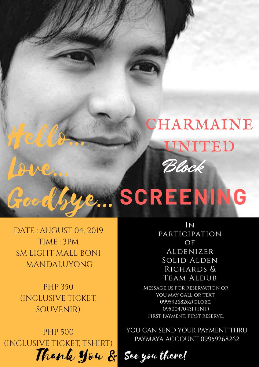 What: Hello Love Goodbye Block Screening When: August 04, 2019 (Sunday) Where: Sm Light Boni Mandaluyong Time: 3pm Cost: 350 (inclusive of ticket and souvenir) 500 (inclusive of ticket and tshirt)  Open for reservation.. Hurry up  #ALDENxHelloLoveGoodbye #AldenRichards <br>http://pic.twitter.com/1qRngn8AQs
