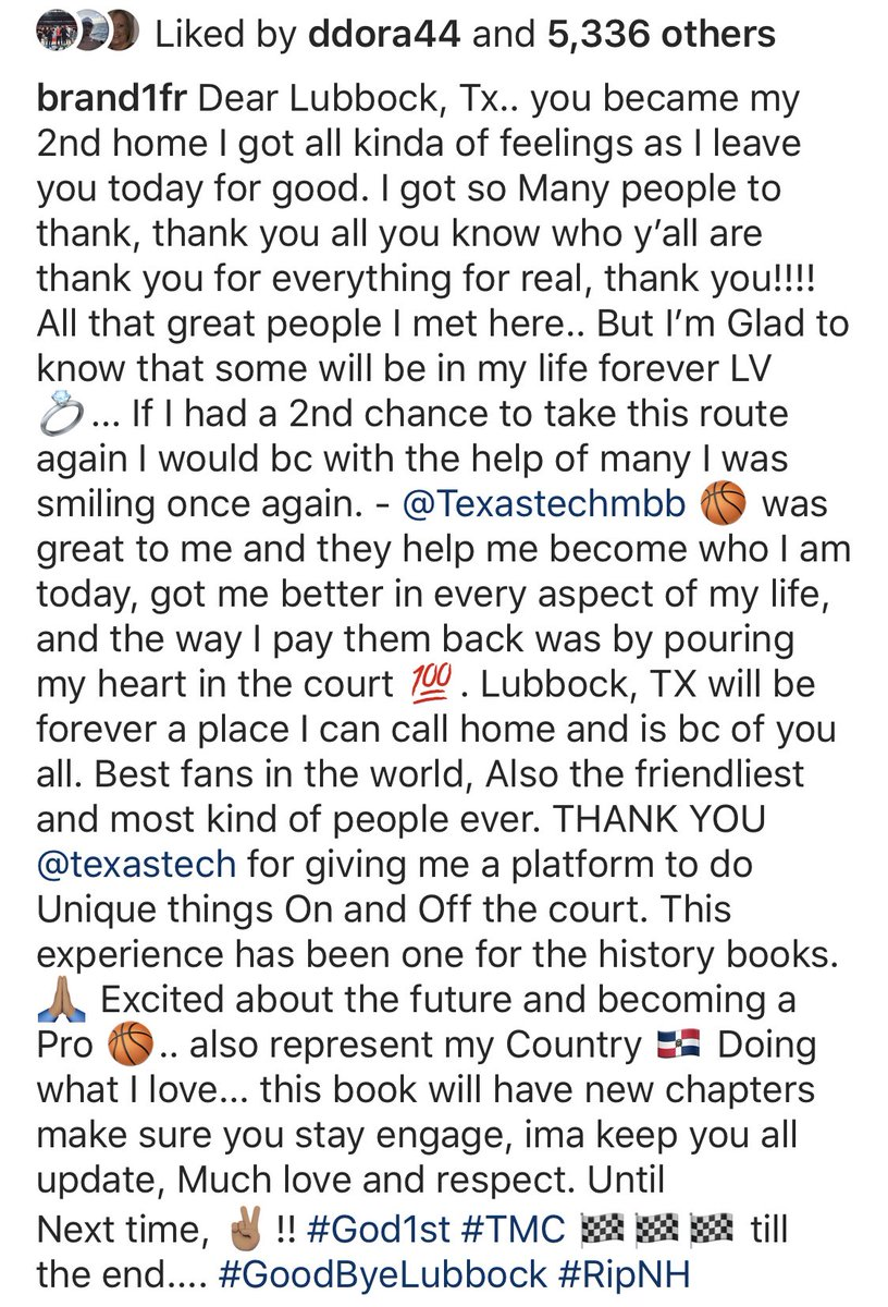 Wreck Em, @Brand1fr!  Best of luck to you, we know you'll continue to be very successful and will make Red Raider Nation very proud.  #GunsUpForLife   IG: brand1fr<br>http://pic.twitter.com/kQHnpHUJwi