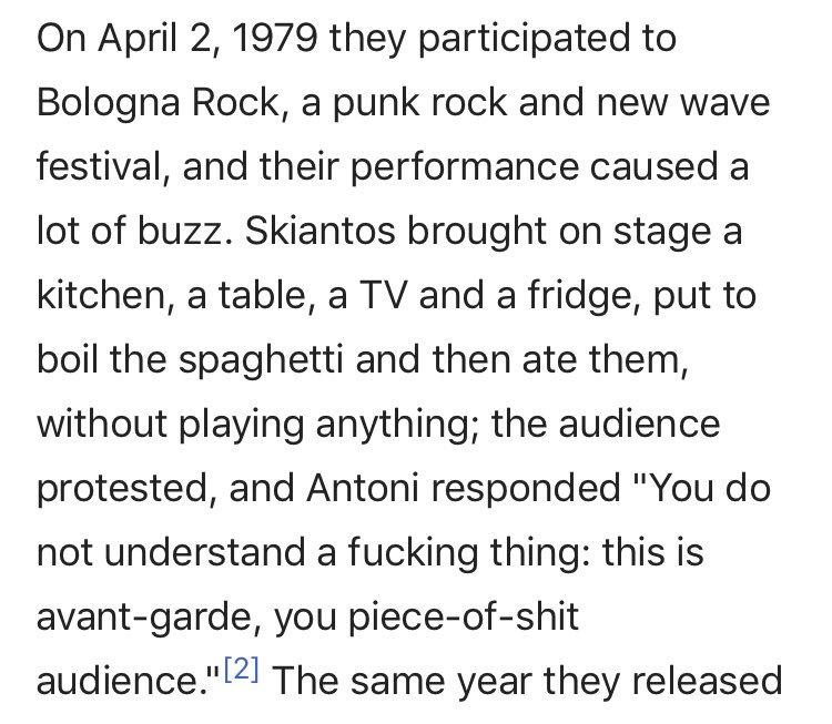 the italian punk band skiantos did the single most punk performance i've ever heard of in my entire life