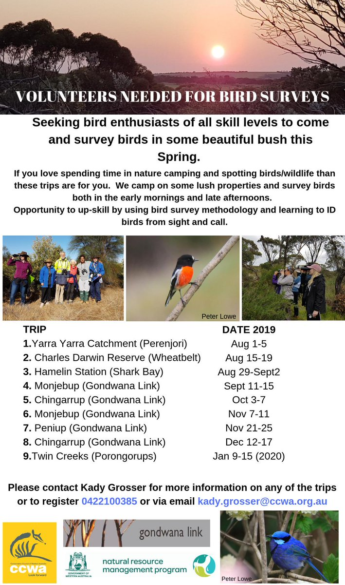 VOLUNTEERS NEEDED - Field Schedule 2019 Bird Surveys  If you spending time in nature camping and spotting wildlife than these trips are for you!