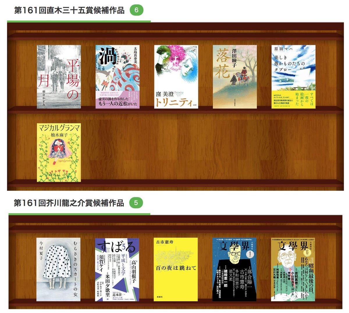 第161回 #芥川賞 #直木賞(日本文学振興会主催)候補作品が発表されました! 各賞の候補作品を #読書メーター の本棚にまとめたのでぜひチェックしてみてください↓