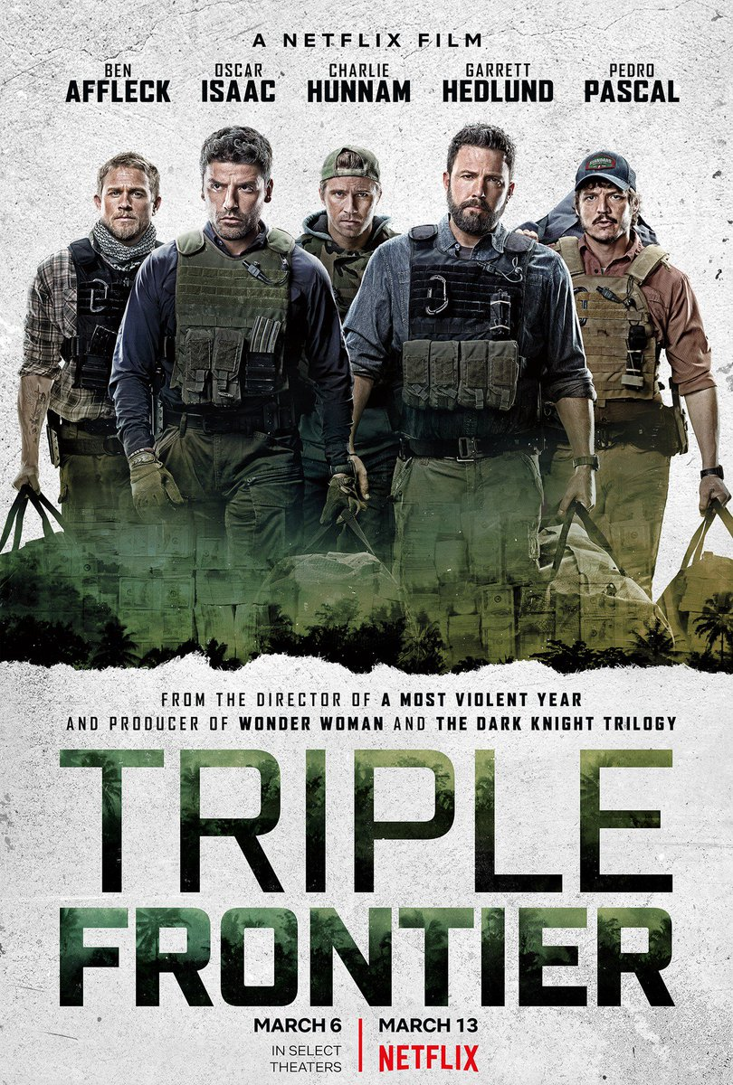 Continued the #Netflix original movie watch tonight with Triple Frontier.  Can't say it ever grabbed me too much but I didn't come close to turning it off.  I had a hard time getting invested in any of the characters. 6/10 #NowPlaying #MovieADay https://t.co/vU7y0vn763