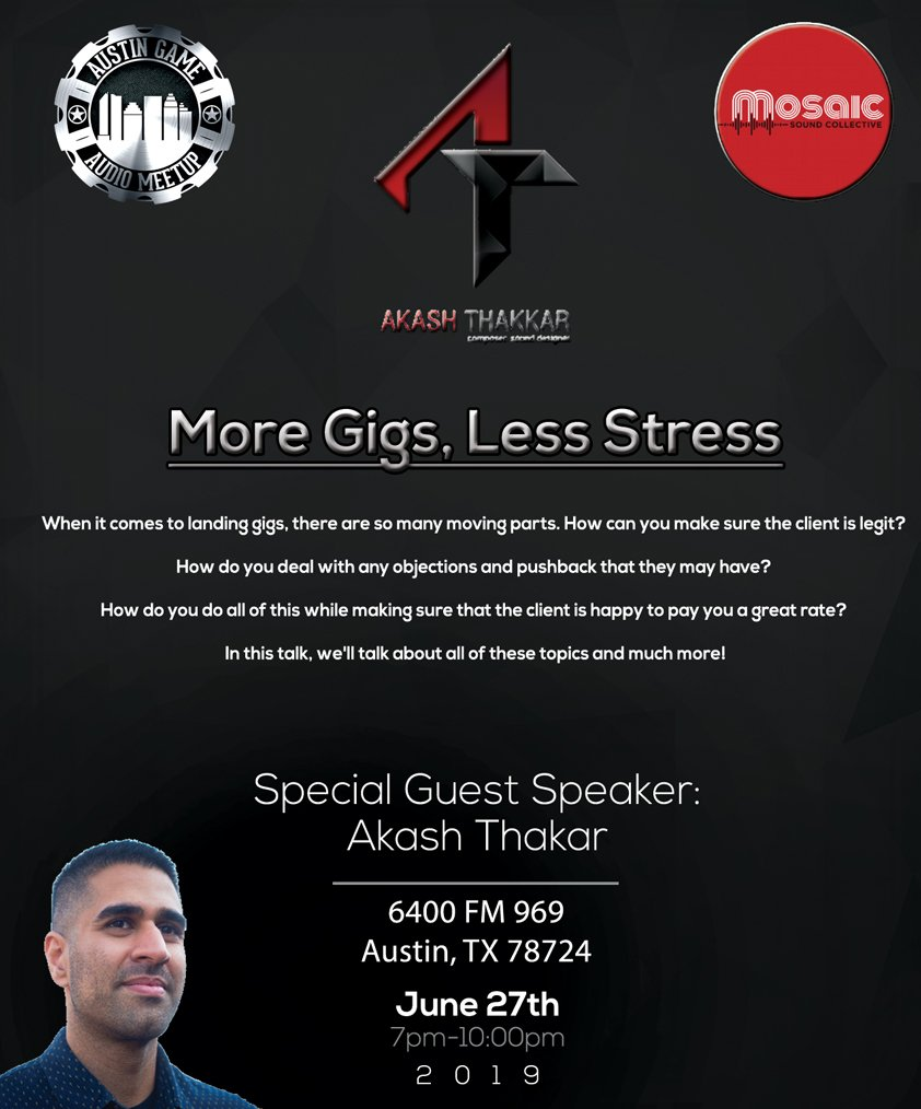 """We're in for a treat! This month we have special guest @AkashThakkar visiting from Seattle to share his knowledge in a talk titled - """"More Gigs, Less Stress"""".   June 27th, Doors @ 7pm, Presentation @ 7:30! @MosaicSoundCo   Bring snacks/drinks and come ready to learn!  #GameAudio <br>http://pic.twitter.com/4Pqf1zoVra"""