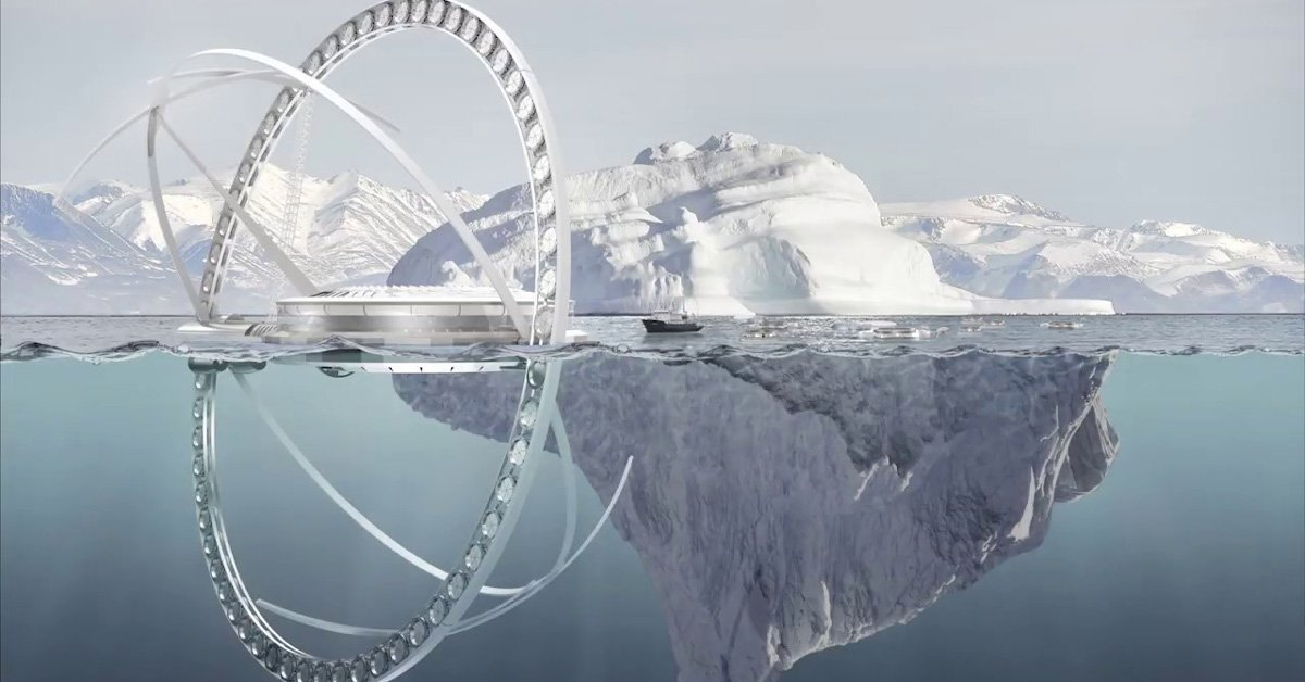 A futuristic design called the 'Arctic Saver Tower' could protect polar glaciers and prolong the winter season in the Arctic by spraying seawater to thicken melting ice. Read more in @designboom bit.ly/31xWGkJ