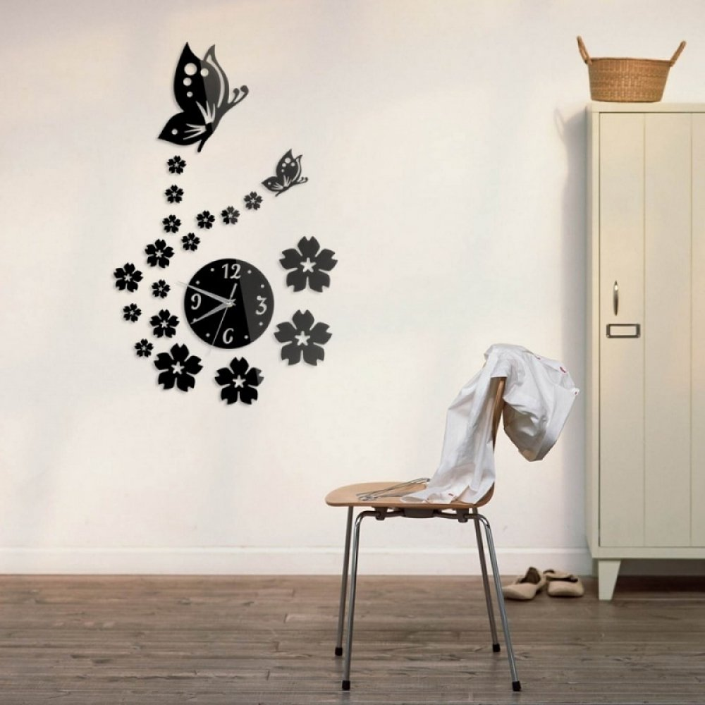 #white #details Butterfly & Flower Wall Clock 3D Acrylic Mirror Sticker Modern Design Wall Decor Black https://t.co/RrkI7TKFXF
