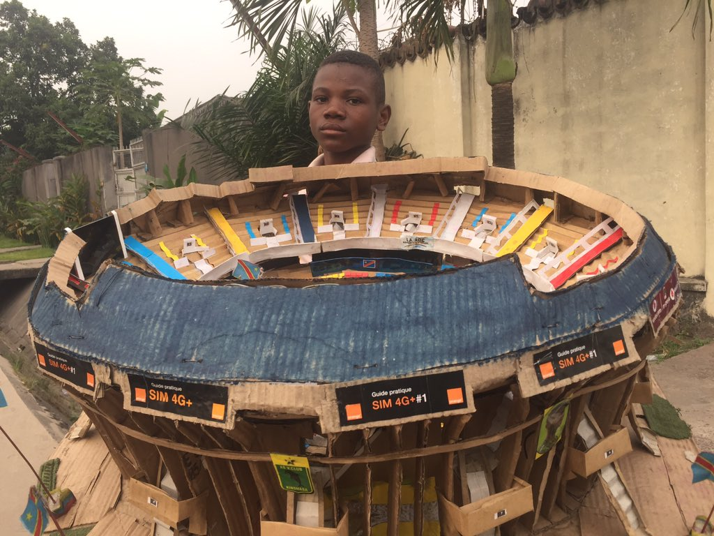 This model stadium made by a young Congolese football fan is brilliant.   👏