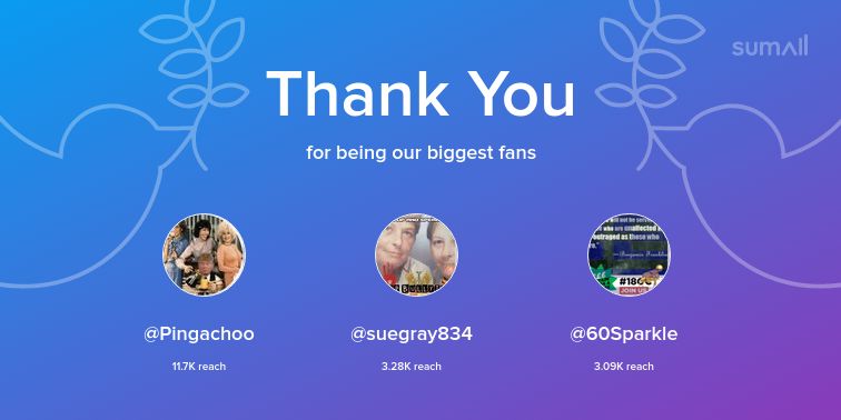 Our biggest fans this week: Pingachoo, suegray834, 60Sparkle. Thank you! via https://sumall.com/thankyou?utm_source=twitter&utm_medium=publishing&utm_campaign=thank_you_tweet&utm_content=text_and_media&utm_term=b50f40facf2b6a8055d33435 …