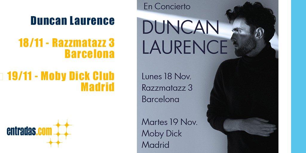 🔔 ¡NOTICIÓN! 🔔  🎶 Después de ganar #Eurovisión 2019 con 'ARCADE', @dunclaurence llega a España con dos #conciertos en:  📅 18/11 en @RazzmatazzClubs, #Barcelona 📅 19/11 en @MobyDickClub, #Madrid  🎟️ Entradas a partir de mañana 18/06, a las 10:00, en: https://entrad.as/Duncan-Laurence
