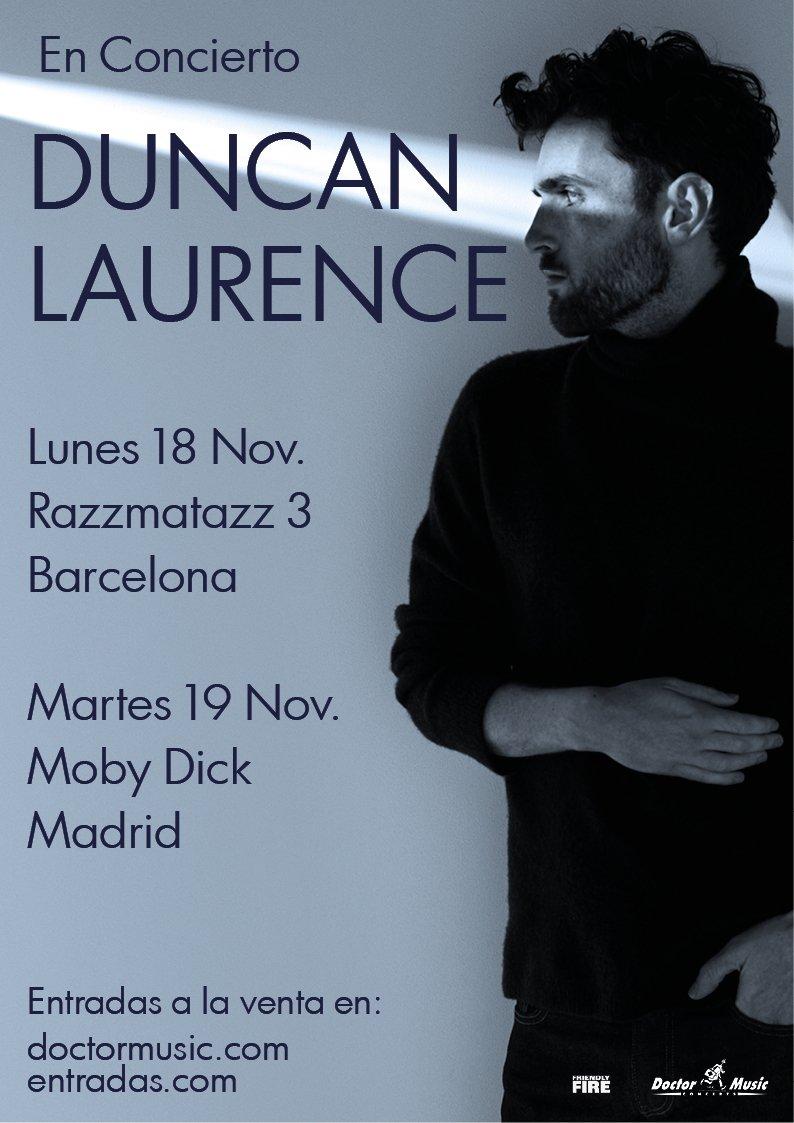 El ganador de #Eurovision de este 2019, @dunclaurence, ofrecerá dos conciertos en nuestro país 🎉🎶 ¡No te lo pierdas en directo! 📍18 noviembre en #Barcelona - Razzmatazz 3 📍19 noviembre en #Madrid - Moby Dick ENTRADAS a la venta el 18 de junio 👉 http://bit.ly/DuncanLaurenceDM…