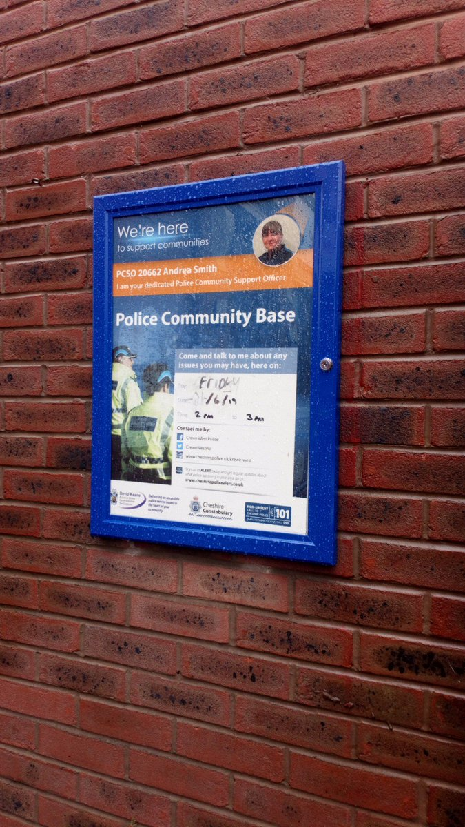 The next PCSO surgery at the lighthouse centre is on Friday at 14.00. Come along and voice your concerns #Crewe