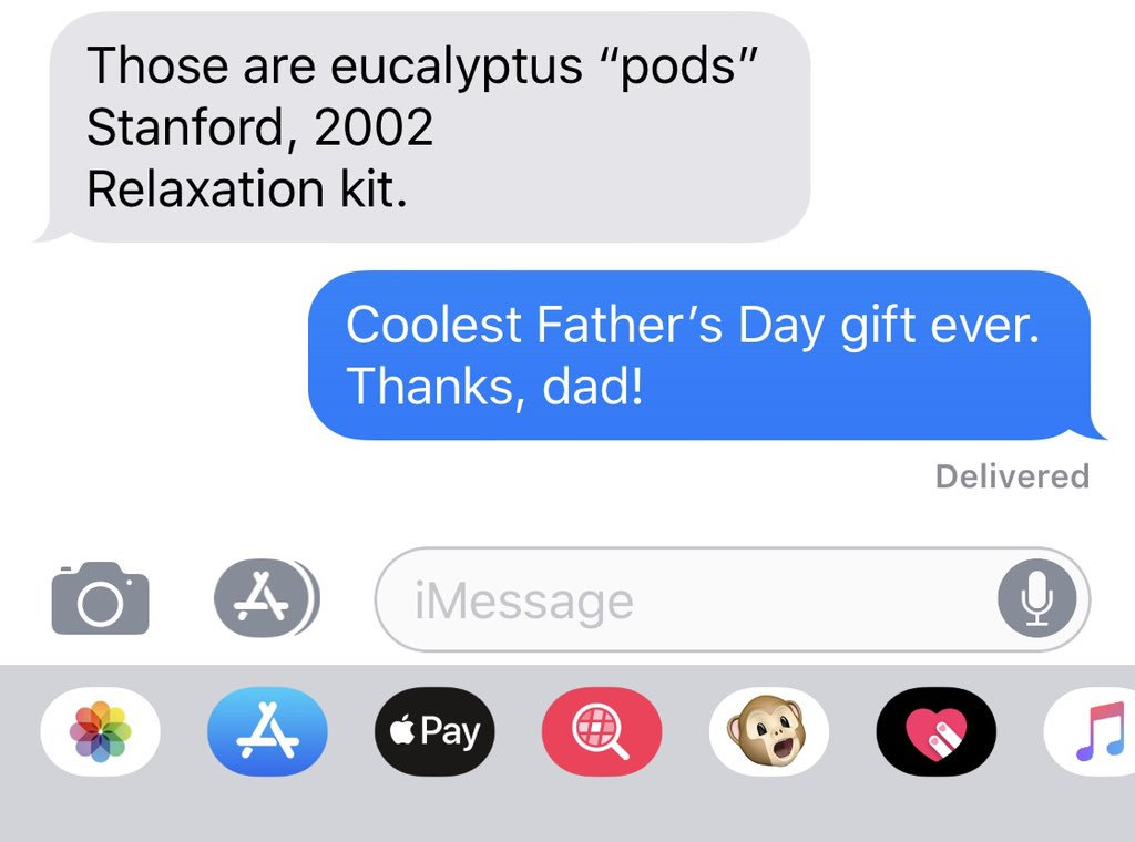"""I didn't really have a Father's Day gift for my dad (just my """"presence"""") so he gave me some scratch-and-sniff eucalyptus pods he's been saving in a cigar box since my college graduation. #CoolDads <br>http://pic.twitter.com/VVixtIY7J0"""