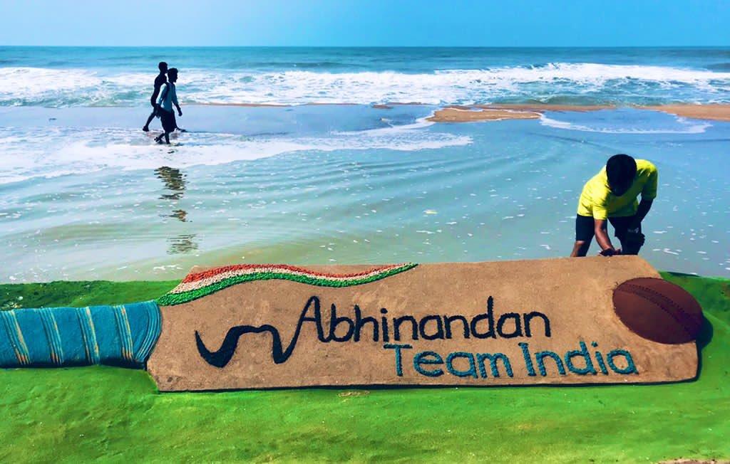 #AbhinandanTeamIndia for winning against Pakistan in @ICC World Cup #CWC19 . My SandArt of 20ft long cricket bat at puri beach in Odisha. #INDvPAK