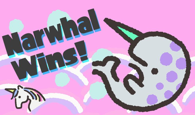 The #Splatoon2 #Splatfest results have arrived, and #TeamNarwhal proves they're real with a 3-0 sweep!   Thanks to everyone who participated, and prepare yourself for the #FinalSplatfest, coming 18/7!