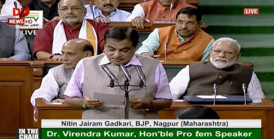 Shri @nitin_gadkari takes oath as member of the 17th Lok Sabha.