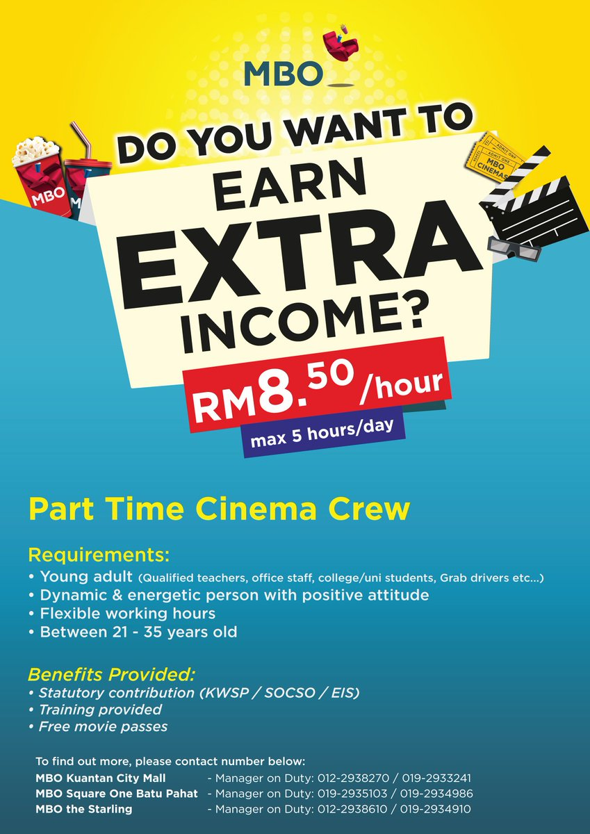 Mbo Cinemas On Twitter Looking For A Part Time Job Join Us At