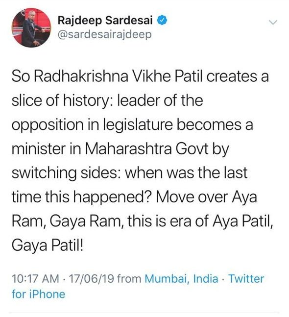 You're from Maharashtra, @sardesairajdeep. Least I expect is for you to remember important events of your own home state! Even Sharad Pawar became the CM of Maharashtra after quitting the Leader of Opposition post. Forgot?? अच्छा काम किया तो कारवाँ बन ही जाता है 'सर'देसाई साहब! <br>http://pic.twitter.com/i3WGP44BYn