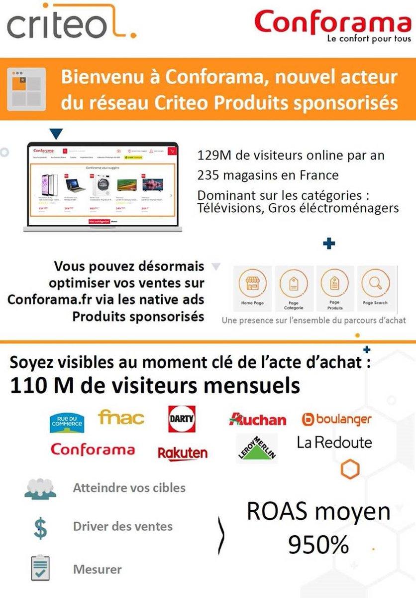 test Twitter Media - .@Conforama rejoint l'offre @Criteo_France Sponsored Product. Ce renfort de leur offre, va permettre aux annonceurs de toucher près de 110M VU mensuels et affirme la présence de Criteo, dans la bataille Trade Media Marketing avec @GoogleFR & @amazon https://t.co/A5eaKhEBX9