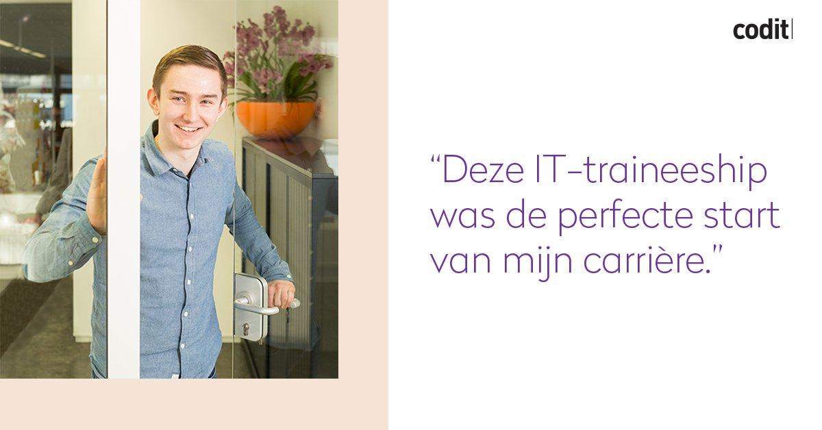 """RT CoditCompany """"Start jij jouw carrière met Microsoft #Integratie, #Azure & #IoT? Codit opent graag de deur voor jou! Solliciteer nu voor onze IT #Traineeship in Utrecht via http://bit.ly/2D7apn3 """""""