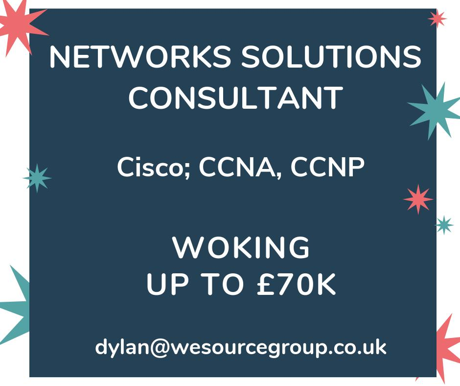 Cisco Networks Solutions Consultant ⚡ Up to £70k ⚡ Woking ⚡   Contact Dylan today - dylan@wesourcegroup.co.uk / (0203) 355 0406  Check out the job, here: https://bit.ly/2wWpLIx  #mondaymorning #cisco #enterprisenetworks #firewalls #ise #ITconsultant  #woking #careers