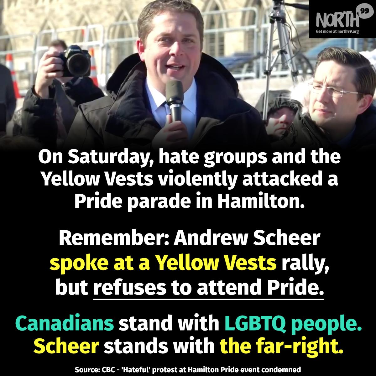 Scheer will appear with the the far-right Yellow Vests, but not Pride  <br>http://pic.twitter.com/WzqGBc1i3J