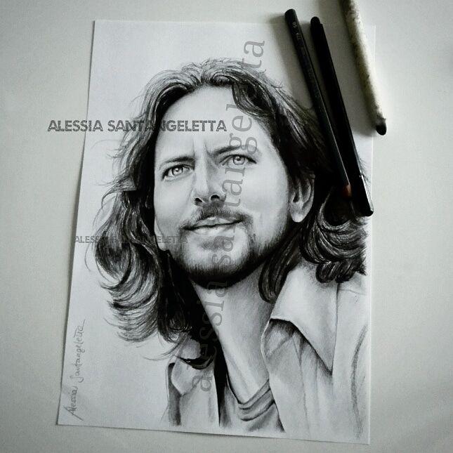 My #drawing dedicated to #eddievedder @PearlJam  #FirenzeRocks #collisionifestival #pearljam #grunge #rock
