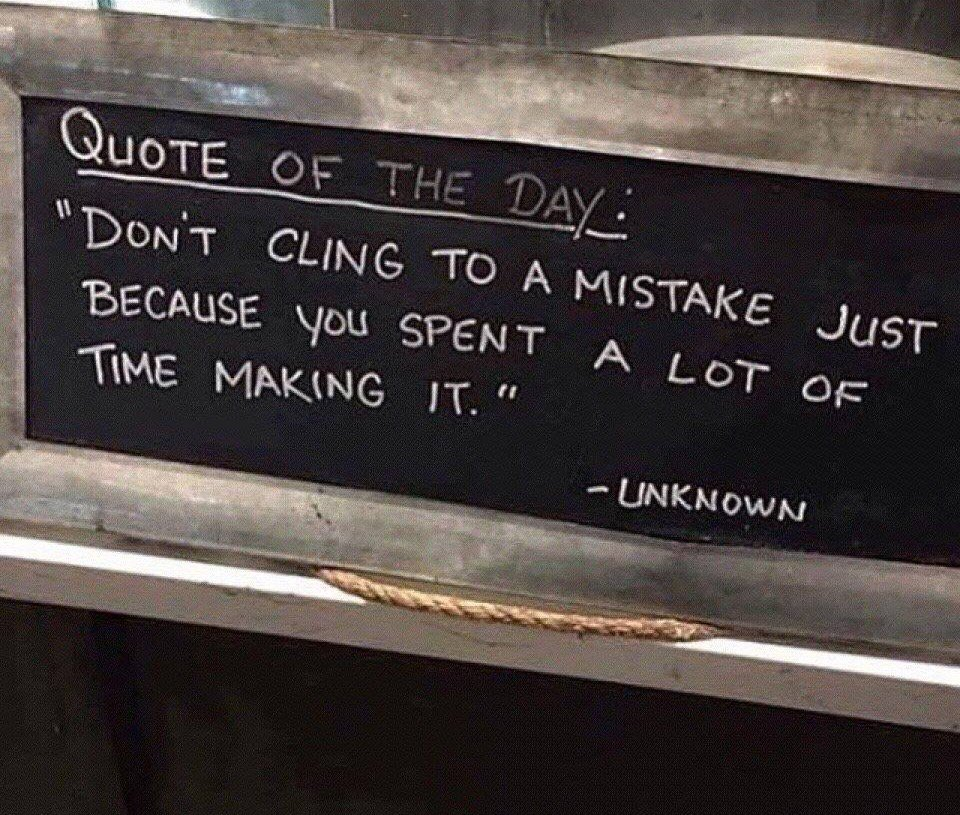 "#WednesdayWisdom ""Don't cling to a mistake just because you spent a lot of time making it"" - sometimes it can feel like so many things are mistakes but this week I will focus on what I can learn from them and move on.  Hope everyone has a great week #traveltribe<br>http://pic.twitter.com/GP2eTm6gK3"