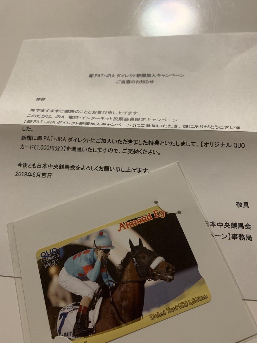 JRA即パットのキャンペーン当たってたっぽ アーモンドアイのドバイターフ仕様のQuo1000円分