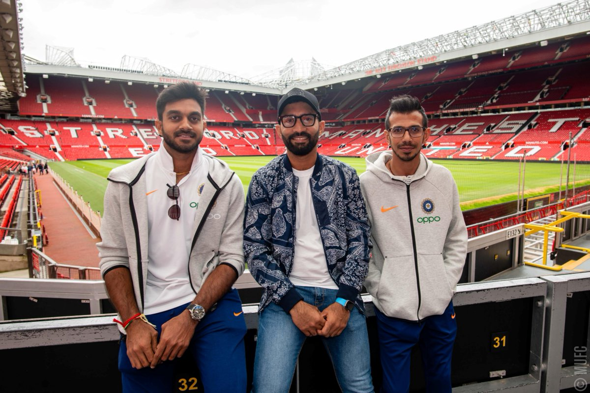 🇮🇳 @BCCI players @DineshKarthik, @VijayShankar260 and @Yuzi_Chahal visited Old Trafford last week 📸  Congrats on your #CWC19 win over Pakistan on Sunday 💪