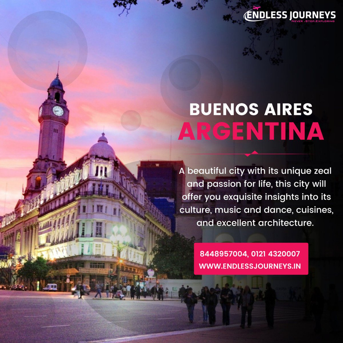 A truly intriguing and exclusive destination that boasts of European heritage, Buenos Aires is sometimes called the 'Paris of South America'.  Speak to our Travel Agent: 8448957005 | 9027072186 #endlessjourneys #buenosaires #buenosairescity #buenosairesphoto #buenosairesargentinapic.twitter.com/Fml3CEjv3Q