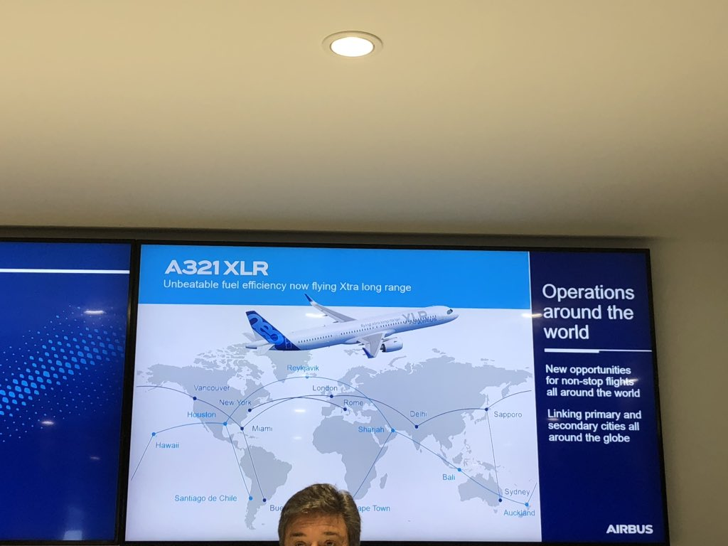 Here is the @Airbus range chart for this aircraft which says Delhi to London is now possible #avgeek #A321XLR