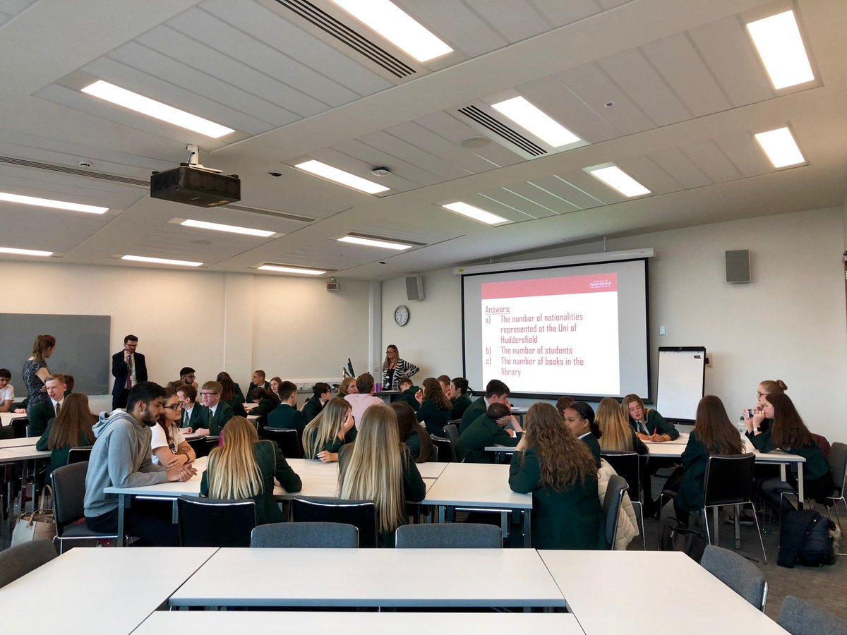 Year 9 Trinity Academy students are visiting @HuddersfieldUniversity to learn more about higher education! First activity is a quiz - how much do you know about university? #alwayslearning